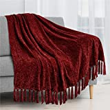 PAVILIA Chenille Tassel Fringe Throw Blanket   Velvety Texture Decorative Throw for Sofa Couch Bed   Soft Silky Cozy Lightweight Knitted Throw   Wine Red 50 x 60 Inches