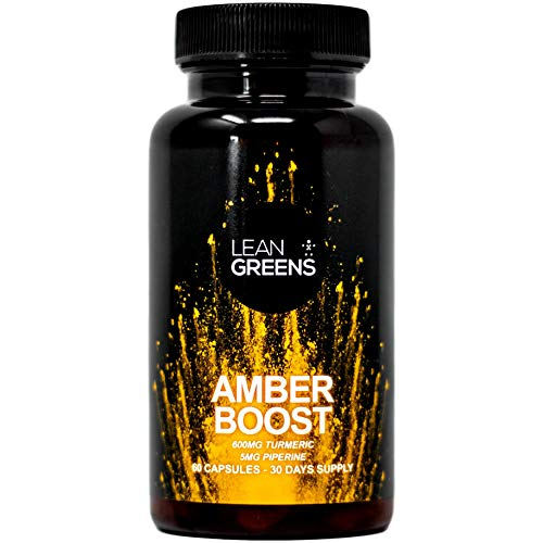 Turmeric Capsules High Strength - Black Pepper and Vitamin D3 - Amber Boost by Lean Greens - Anti-Inflammatory Herbal Supplement