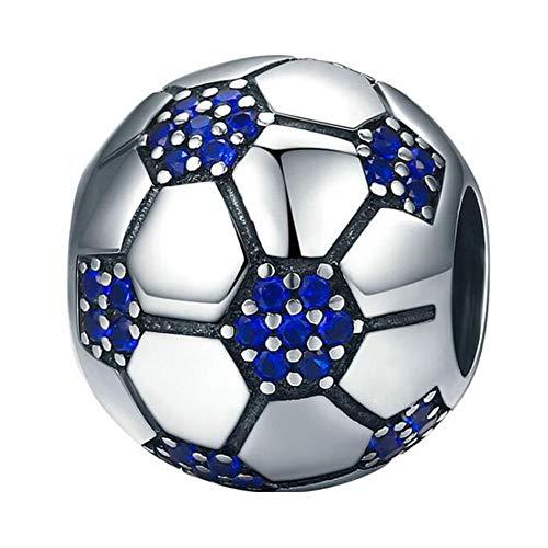Charms für Pandora-Armbänder, schwarze Emaille, Sport-Fußball-Anhänger, 925er Sterlingsilber, für Pandora-Armbänder, Blau