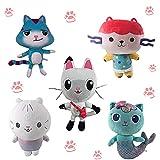 Peluche de la casa de muñecas de Gabby, 26cm / 10,2 ' Pandy Cat / Mercat / Cakey Cat / Baby Box - Juego de Juguetes de Peluche para fanáticos y Amantes de los Gatos (5pcs)