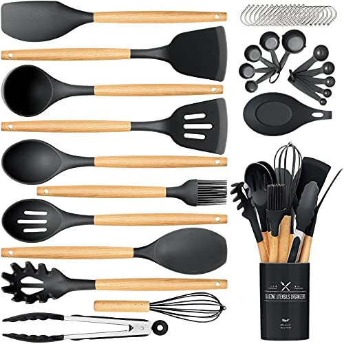 Silicone Cooking Utensils Set, 24Pcs Wooden Handles Spatula Utensil Set with Holder - Heat Resistant & Nonstick - Best Kitchen Gadgets Tools Set for Cookware(Black)