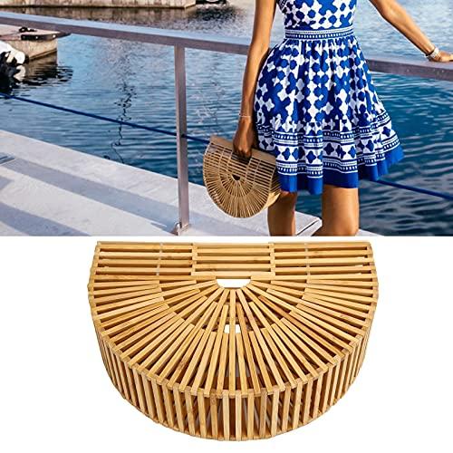 BOLORAMO Bolso de bambú, Bolso de Playa de Asas semicircular para Viajes de Citas(S)