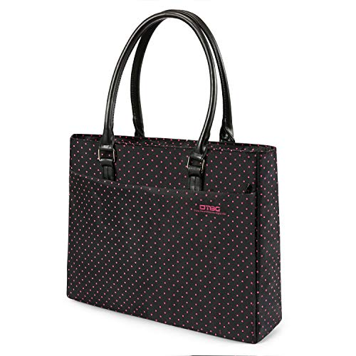DTBG Laptop Tote Bag, 15.6 Inch Women Shoulder Bag Nylon Briefcase Casual Handbag Laptop Case for 15-15.6 Inch Tablet/Ultra-Book/MacBook/Chromebook (Black+Pink Dot)