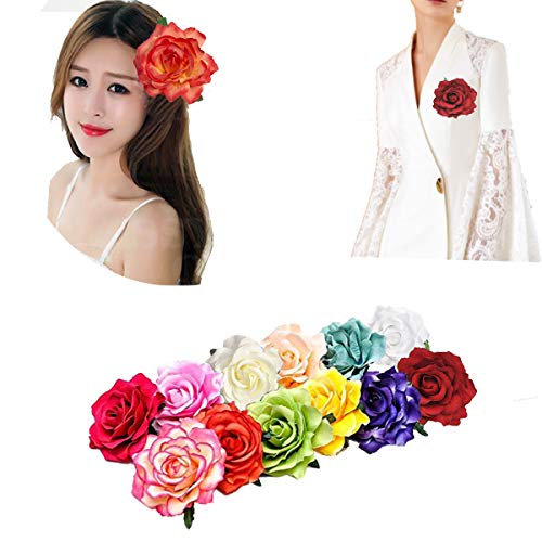 12PCS Elegant Large Rose Flower Hair Clips Hairpins Floral Brooches Pin Boho Hair Clip Rose Hair Accessories For Women Girls Lady Bridal