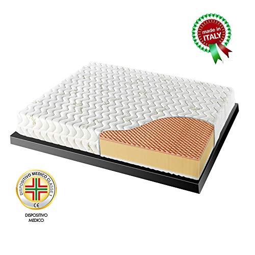 Goldflex - Materasso Memory MOD. Energy Bed 3 Matrimoniale 160x190 H19cm, 3 Strati in Memory Foam e Schiumato Waterflex, Rivestimento SFODERABILE, Certificato DETRAIBILE 19%