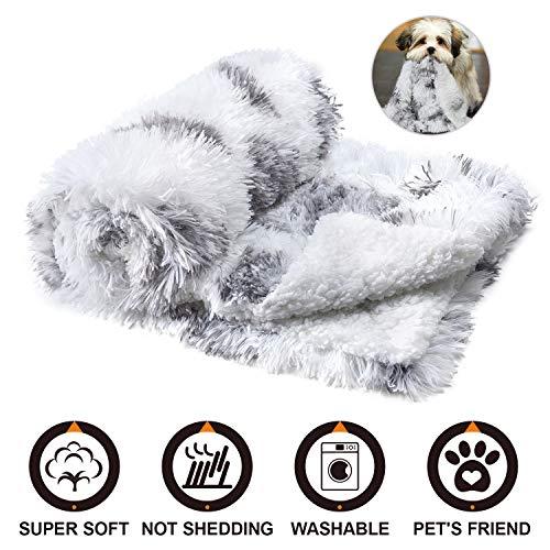 Joyfeel Hundedecke für kleine Hunde, Haustiere, Katzen, Welpen, Kuscheldecke, Couch/Bett, flauschiges Kunstfell, wendbar, weißer Überwurf mit warmem Pfotenabdruck, Samt und Sherpa