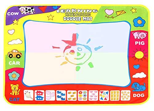 BENGO Tappeto Magico Acqua Doodle,Tappeto Magico Bambini 80 *60cm,con 4 pennelli per l'acqua,1 Set di Francobolli , 9 Stampi e 1 Libretto di Disegni e 1 Zaino per Bambini