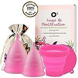 O³ Coupe Menstruelle taille 2, cup menstruelle 2 tailles S et L en Silicone, Coupe de Stérilisation et pochette, Coupe écologique sans BPA