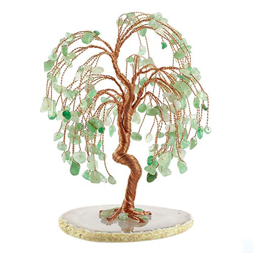 Jovivi Green Aventurine Crystal Money Tree Feng Shui Ornaments Gemstone Willow Tree of Life Figurine Agate Slice Geode Quartz Stone Stand for Healing Wealth Good Luck Living Room Home Decoration