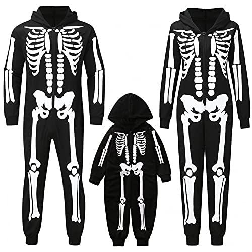 Alueeu Conjunto de Pijamas Familiares de Halloween Manga Larga Familia Juego Homewear impresión Soporte impresión Ropa de Dormir para Papá Mamá y Bebés Pantalon y Top 2 Piezas