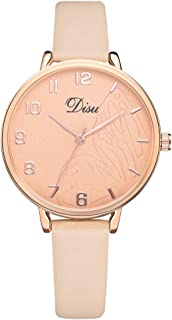 Female Simple Arabic Numerals Leather Band Analog Quartz Watches Rose Gold Case Dress Watch Bangle Watches (B)