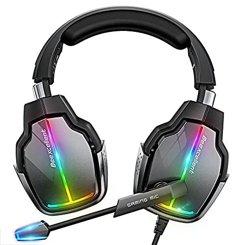 Cascos Gaming PS4, 4 Modos de Iluminación RGB y Orejeras Giratorias de 180°, Auriculares Estéreo Avanzados para Juegos con Micrófono Flexible, Compatibles con PS4 PS5 Xbox One PC Switch (Grey)