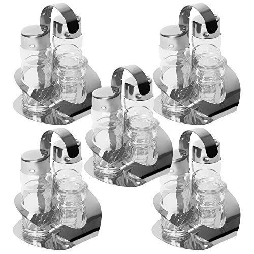 METRO Professional Salz & Pfeffer & Zahnstocher Spender | 1-10 Stück | 11,5 cm | Streuer | Menage | Salzstreuer | Pfefferstreuer | Gewürze (5 Stück)