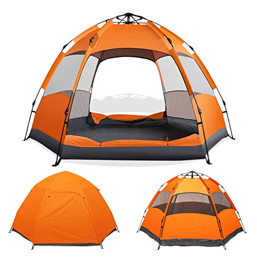 Instant Pop Up Camping Tent Easy Setup Automatic Hydraulic Water Resistant with Rain Fly Portable Lightweight Great for Outdoor Beach Backpacking Hiking (4 Person)