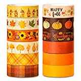 Whaline 12 Rolls Fall Washi Tape Orange Plaid Pumpkin Autumn Leaves Sunflower Patterned Masking Tape Decorative Tape for Fall Thanksgiving Scrapbook Journal DIY Craft Gift Wrapping, 0.6 Inch