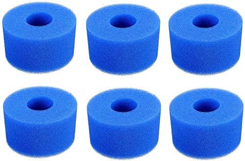 Poweka waschbar Filter für Intex Typ S1, Wiederverwendbare Filterschaum & Filterschaum für Schwimmbad 3 Stück blau