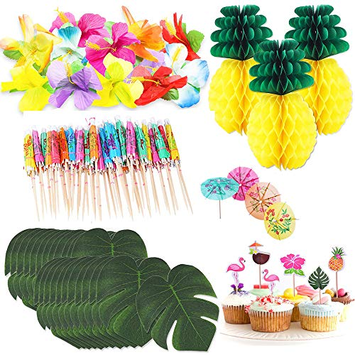 Hawaiian Aloha Party Decoraties - 125 stuks, Tissue Papier Ananassen, Tropische Palm Bladeren, Kunstmatige Hibiscus Luau Bloemen, Cocktail Paraplu Sticks & Cake Toppers voor Luau Party Tafelbenodigdheden #a