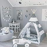 AllRight Tipi Enfant Intérieur Jeu Tente Maison Jardin pour Enfants Fille Gris...