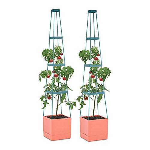 Waldbeck Tomato Tower Set 2 Macetas para tomate con tutor (25x150x25cm, sistema de riego inteligente, maceta jardín o balcón)