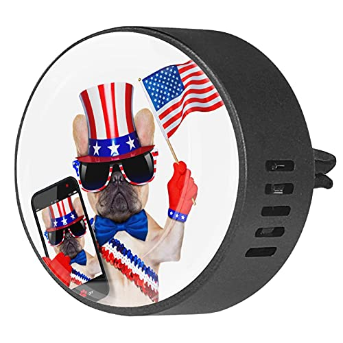 2 Packs Car Diffuser With Clip Air Fresheners,French Bulldog Flag Independence Day,Aromatherapy Essential Oil Portable for bedroom