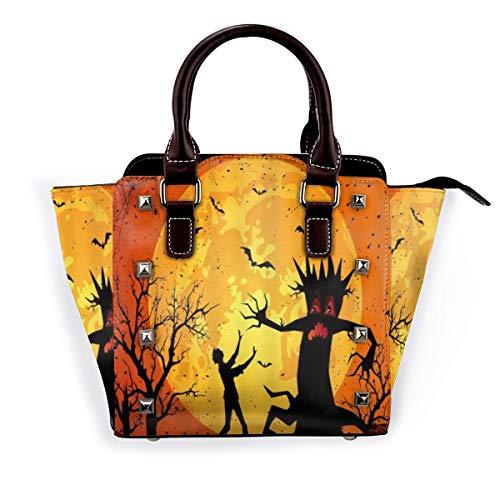 BROWCIN Halloween Kürbis Mond dunkle Nacht Silhouette Baum Horror Abnehmbare mode trend damen handtasche umhängetasche umhängetasche