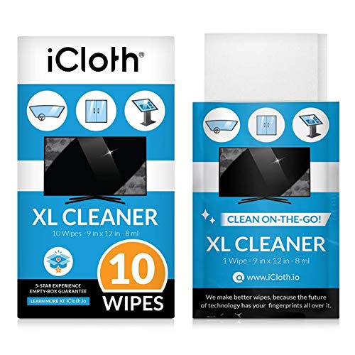 iCloth Extra Large Monitor and TV Screen Cleaner Pro-Grade Individually Wrapped Wet Wipes, 1 Wipe Cleans Several Flat Screen TV s and Monitors, 10 Wipes