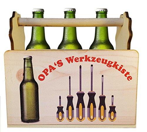 Bierträger aus Holz Opas Werkzeugkiste Farbdruck auf Opas Männerhandtasche Bier-Träger als Geschenk für Opa Seine Bierflasche lustige Biergeschenk für 0,5 Flaschen-Träger für Bierflaschen