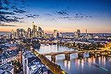 Frankfurt Abends Skyline Stadt XXL Wandbild Kunstdruck Foto
