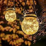 Linterna Solar Exterior,2Pcs Luces Solars de Jardín,luz de vidrio Impermeable IPP65,30 LED luz solar colgante,Adecuado para la decoración de jardines,escaleras,césped,fiestas al aire libre y Navidad
