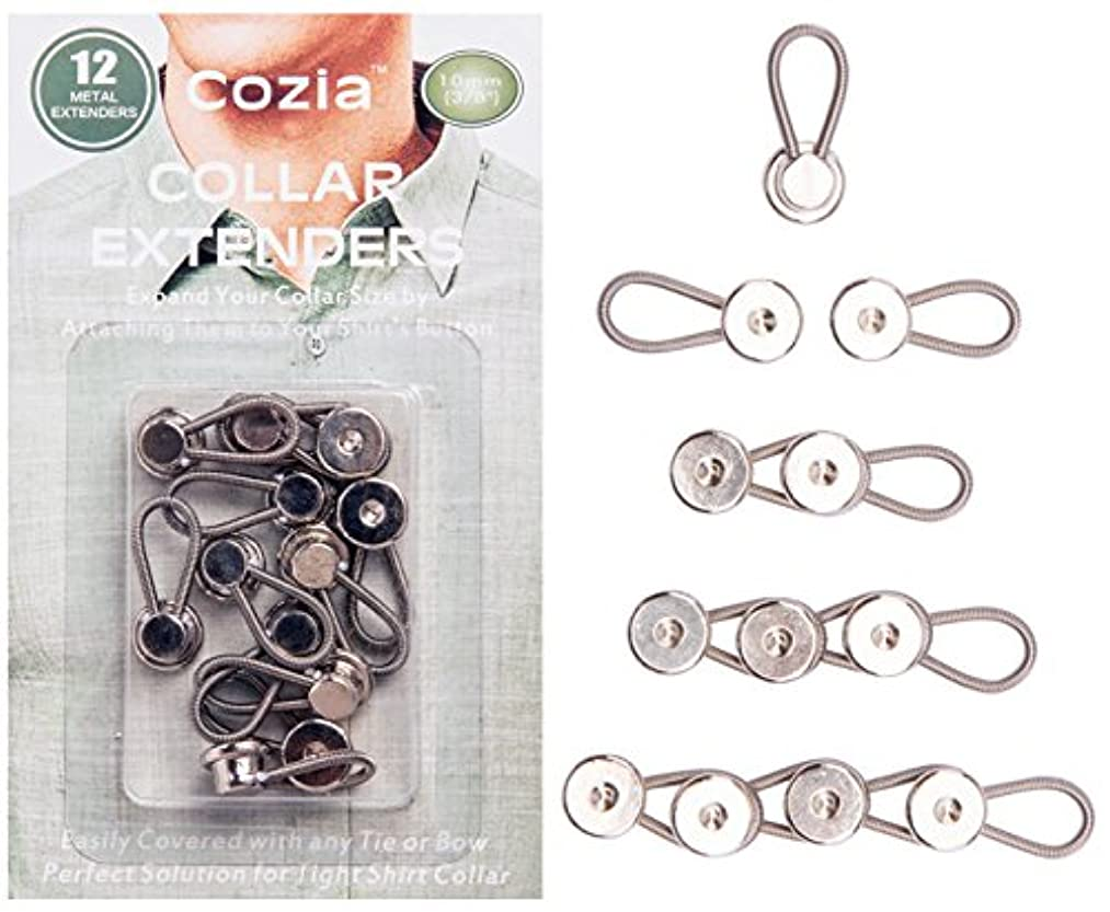 Cozia Shirt Collar Extenders Metal Button Extenders for Dress Shirts & Pants 12-Pack