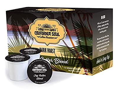 California Soul Single Serve K Cups - 72 Gourmet Single Serve Coffee Pods - Fog Cutter Blend - Dark Roast - Compatible with Most Keurig Coffee Brewing Machines Including Keurig 2.0