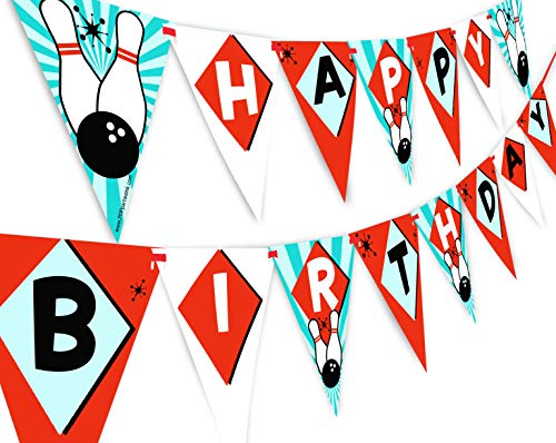 POP parties Bowling Happy Birthday Banner Pennant - Bowling Party Supplies - Bowling Party Decorations - Classic 2
