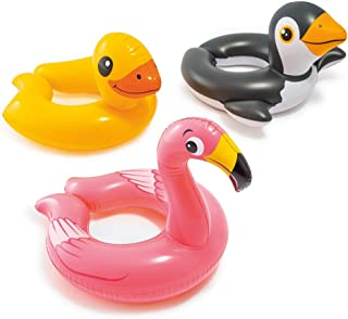 ADRI'S TOYS (Set) Inflatable Animal Split Swim Ring Pool Float (Flamingo, Duck & Penguin)