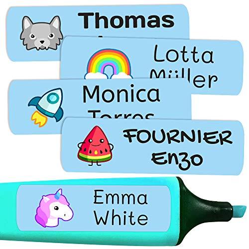 50 Etiquetas Adhesivas Personalizadas, de 6 x 2 cms, para marcar objetos, libros, fiambreras, etc. Color Azul Celeste