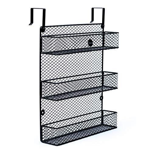 OZHO 3 Tier Black Spice Rack Wall Mount OR Wall Storage Rack Over Door Hanging Spice Rack Organizer PantryKitchen Bathroom