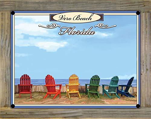Northwest Art Mall Vero Beach Florida Adirondack Chairs Metal Print on Reclaimed Barn Wood from Alla Prima Painting by Artist Joanne Kollman 9' x 12'