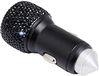 Auto USB Ladegerät, Asudaro Bling Autoladegerät DC5V 2.1A Shiny Bling Strass Kristall Ladegerät mit Sicherheitshammer KFZ Ladeadapter Zigarettenanzünder USB Ladegerät,schwarz