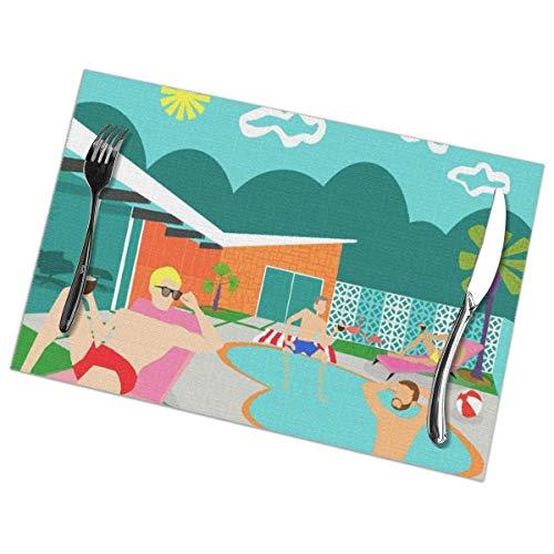Juego de 4 manteles individuales para mesa de comedor, manteles individuales lavables antideslizantes, manteles individuales navideños de Pascua y vacaciones Pink Palm Gay Pool Springs Mid Century Mod