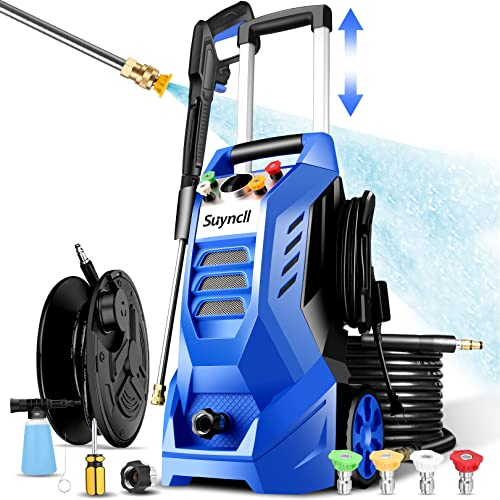 Suyncll Electric Pressure Washer 3800PSI, 2.6GPM Power Washer Cleaner with 4 Nozzles, Detergent Tank, Best for Cars/Fences/Patios (Blue)