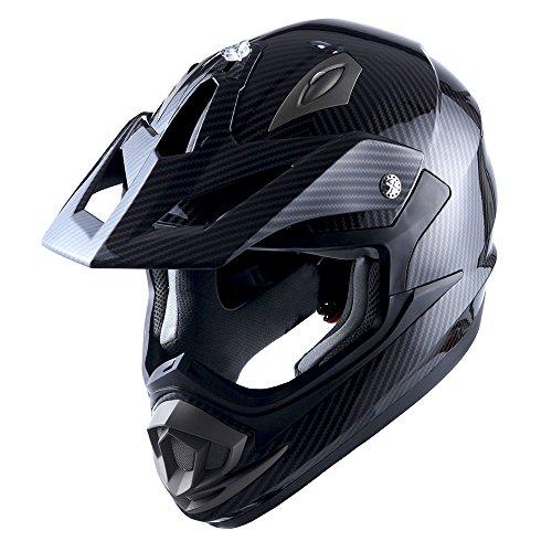 1Storm Adult Motocross Helmet Off Road MX BMX ATV Dirt Bike Mechanic Carbon Fiber Black; Size XL (61-62 cm 23.8/24.1 Inch)