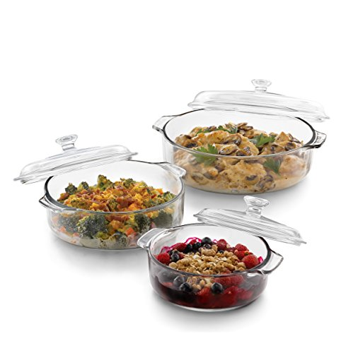 Libbey Baker's Basics 3-Piece Glass Casserole Baking Dish Set with Glass Covers