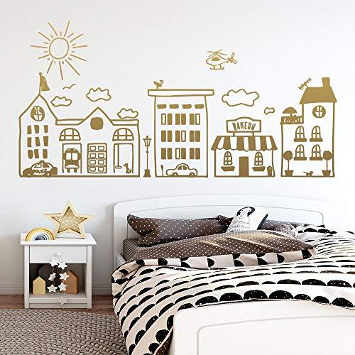 Cartoon City Planning Vinyl Wall Sticker Decoración Room Decoration Background Sticker Decal 42x84cm