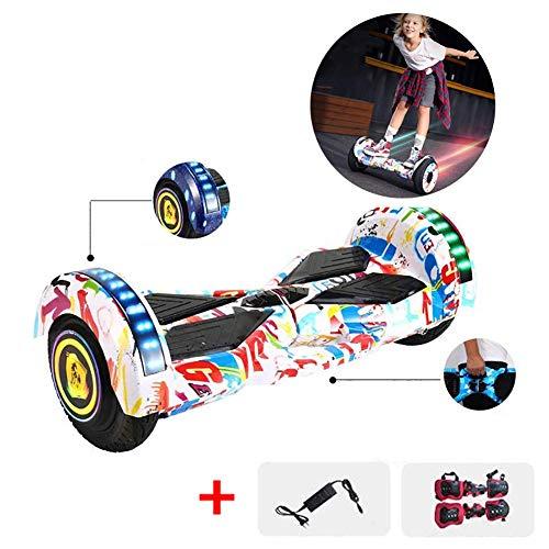 LUO Elektroroller Hoverboard 8 Zoll Selbstausgleichender Roller Mit Bluetooth Tragbares Design Hinzugefügt Eingebaute Bluetooth-Lautsprecher Mit Led Buntes Licht, Beste Geschenke Für Kinder, Weiß,Wei