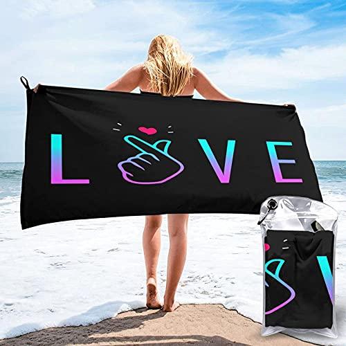 Toalla de Secado rápido KPOP KDrama Korean Saranghae I Love You Finger Beach Towel Blanket KPOP Quick Dry Lightweight Thin Towel Travel Swimming Bath Camping Yoga Gym Sports Towel 27.5'X55'