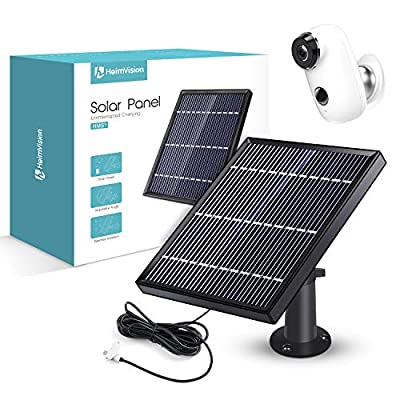 Solar Panel Compatible with HeimVision HMD2 Rechargeable Battery Security Camera, Waterproof 3.2W/ 5.5V Solar Panel with 13ft/ 4m USB Cable, Support Continuously Supply Power for Security Camera