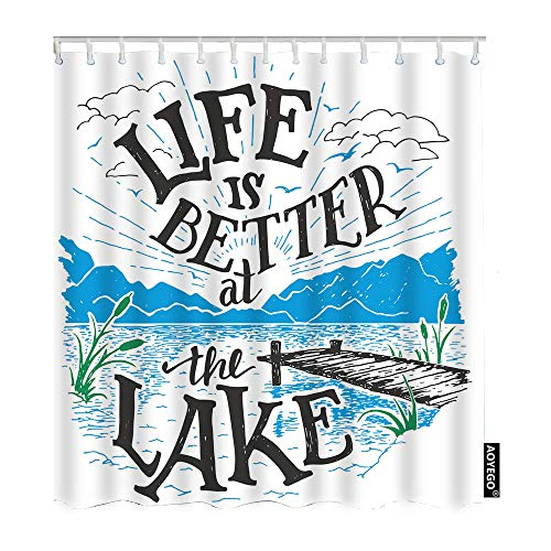 AOYEGO Life is Better at The Lake Fabric Shower Curtain with Hooks Sketch House Lakeside Living Cottage Rustic Holiday Bath Shower Curtain Polyester 72x72 Inch for Bathrooms Bathtubs Camping