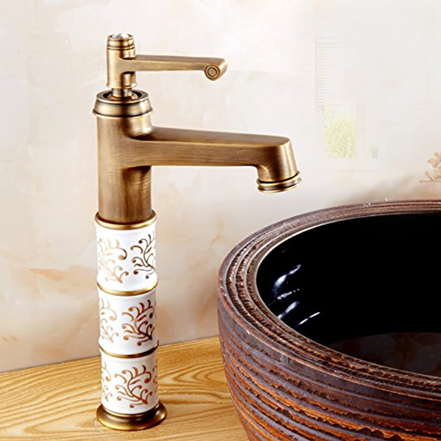 Hlluya Professional Sink Mixer Tap Kitchen Faucet The bronze basin mixer bathroom hot and cold basin tap on the high-J