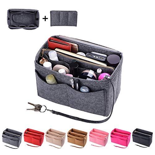 Purse Organzier, Bag Organizer with Metal Zipper (Large, Grey)