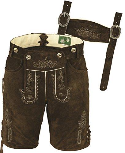 Bayerische Lederhose kurz Herren Tracht, Lederhose kurz Herren,Trachtenhose aus hochwertiges Veloursleder, mit Träger und Antikstick (58)