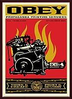 ポスター オベイ Print and Destroy/Shepard Fairey 手書きサイン入り 額装品 ウッドベーシックフレーム(ブラウン)